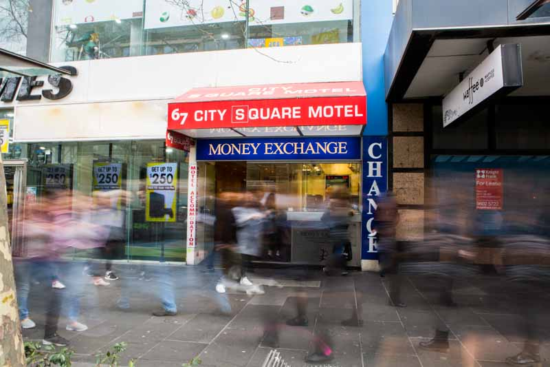 Entrance to City Square Motel in Melbourne